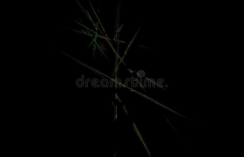 Roter Gelbgrün Fractal auf schwarzem Hintergrund Fantasie Fractalbeschaffenheit Tiefrote Rotation Digital-Art Wiedergabe 3d Compu lizenzfreie abbildung