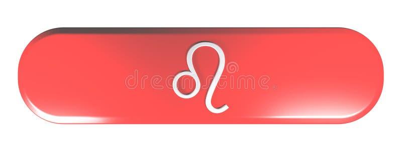 Roter gerundeter Rechteckdruckknopf TIERKREIS-LÖWE-IKONE - Illustration der Wiedergabe 3D lizenzfreie abbildung