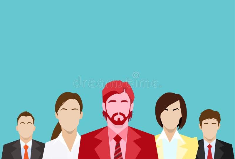 Roter Geschäftsmann-Business People Group-Mensch stock abbildung
