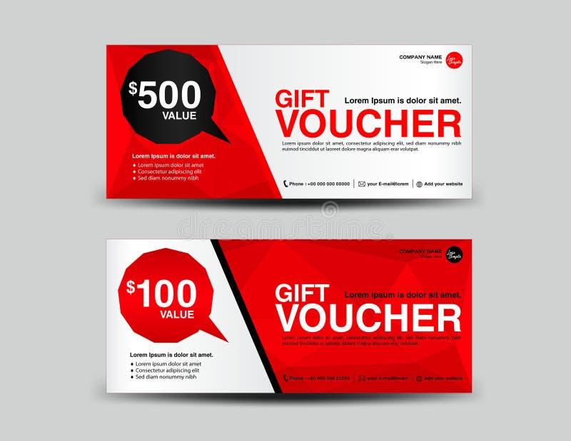 Roter Geschenkgutschein, Kupondesign, Karte, Fahne, Karten, Polygon-BAC lizenzfreie abbildung