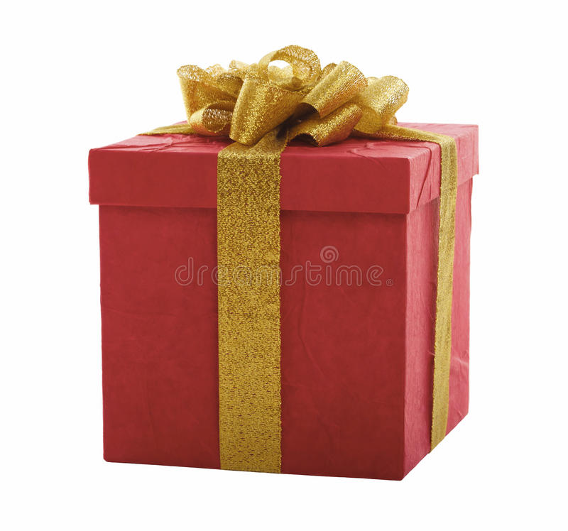 Roter Geschenkkasten mit Goldbogen stockfotos