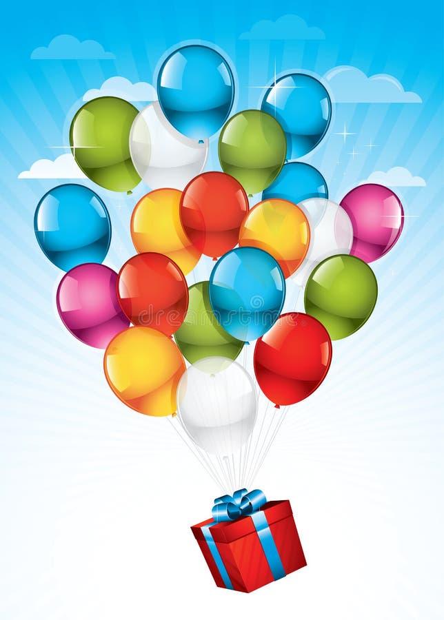 Roter Geschenkkasten und bunte Ballone vektor abbildung
