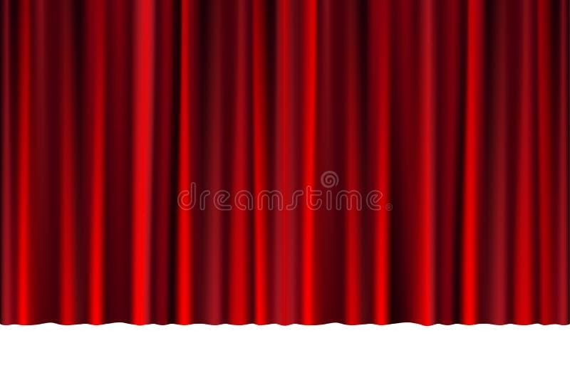Roter geschlossener Vorhang in einem Theater oder in einer Zeremonie für Ihr Design Drapierte Theaterszene lokalisiert auf Weiß V stock abbildung