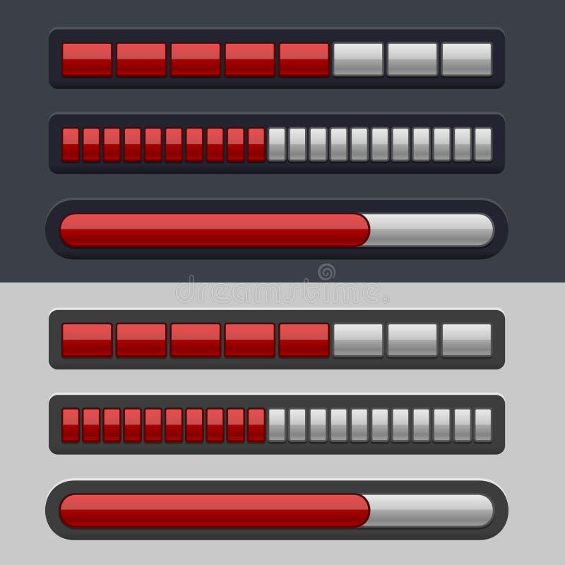 Roter gestreifter Fortschritts-Stangen-Satz vektor abbildung