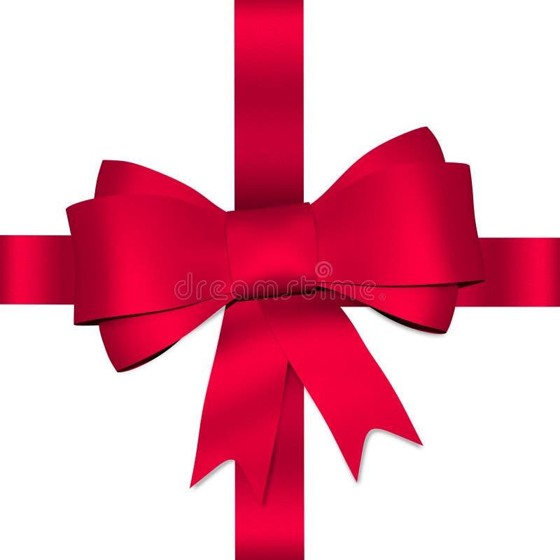 Roter glänzender Bogen mit Band lizenzfreie abbildung