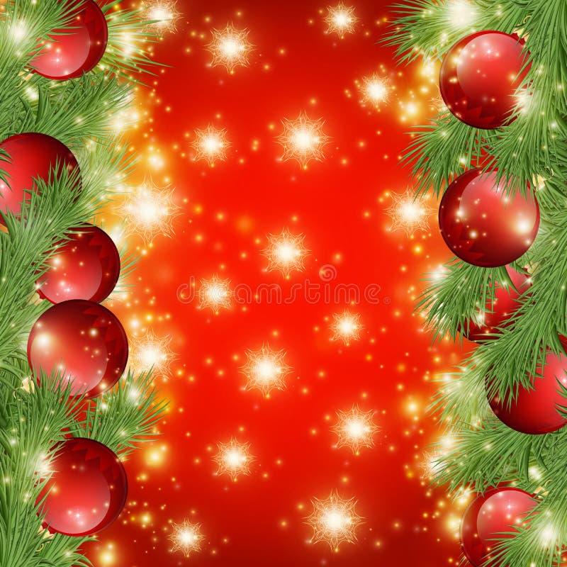 Roter glänzender Hintergrund mit Weihnachtsdekorationen, dekorativen Fichtenzweigen, goldenen Sternen, Feiertag fröhlichem Weihna vektor abbildung