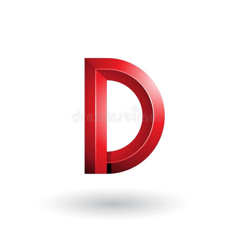 Roter glatter und mutiger 3d geometrischer Buchstabe D lokalisiert auf einem weißen Hintergrund stock abbildung