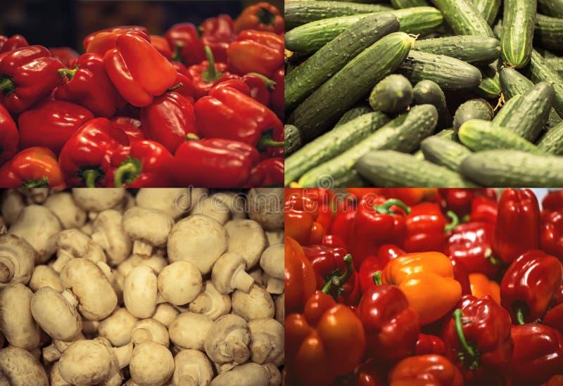 Roter grüner Pfeffer in den Behältern im Supermarkt sehr viele Fleischmehlklöße lizenzfreies stockfoto
