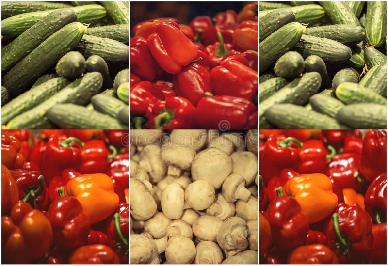 Roter grüner Pfeffer, Gurke und Champignonpilze im Supermarkt stockfotos