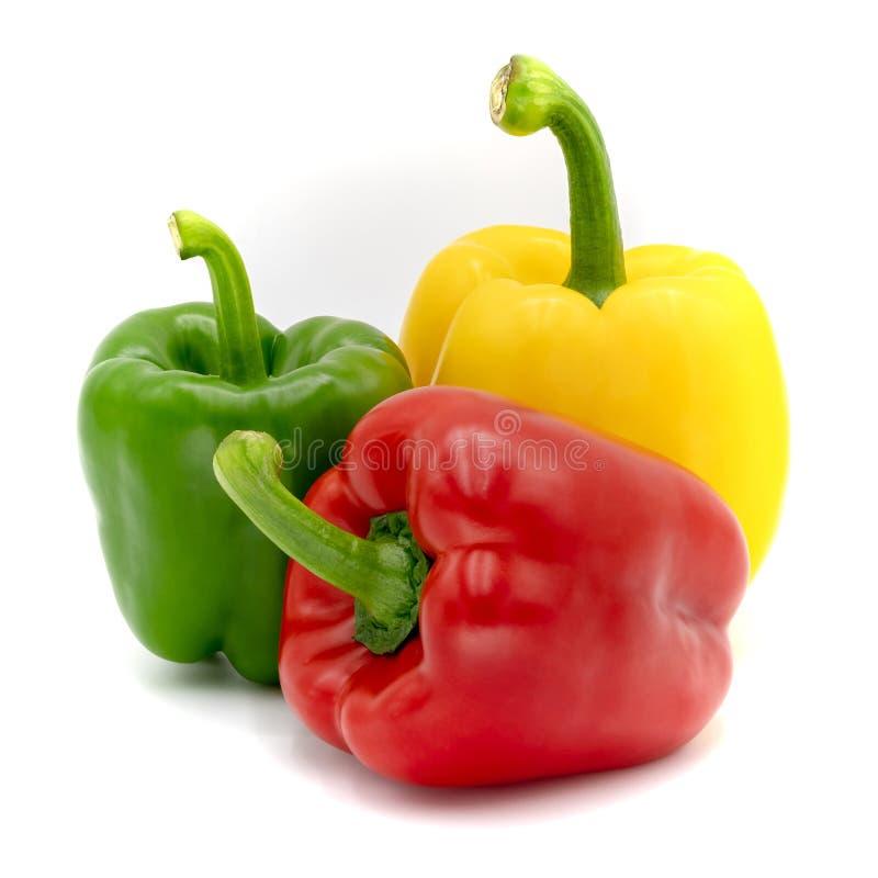 Roter, grüner und gelber grüner Pfeffer, lokalisiert auf einem weißen Hintergrund lizenzfreie stockfotografie