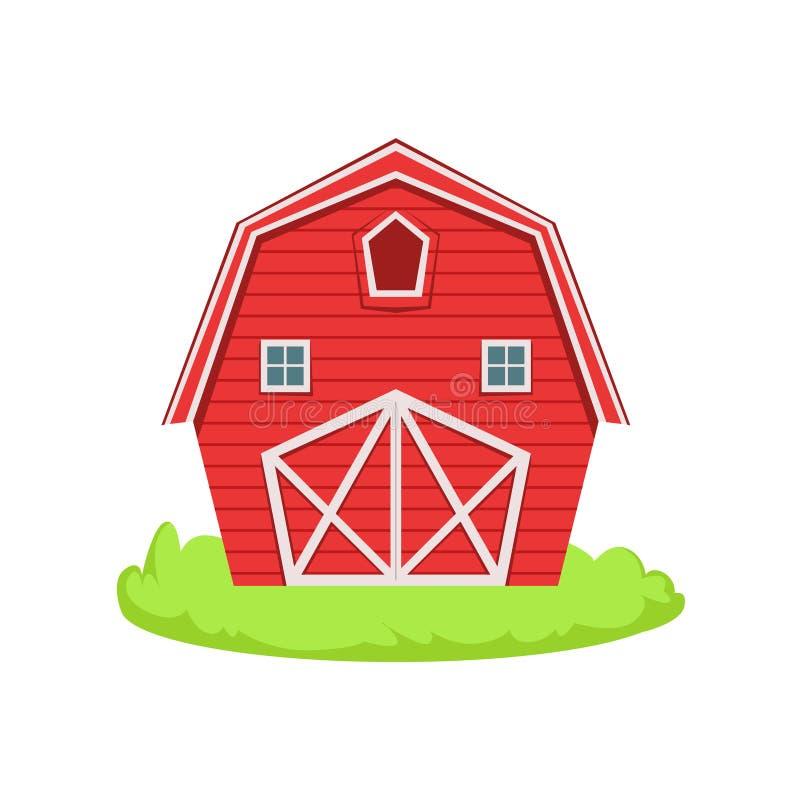 Roter hölzerner Scheunen-Karikatur-Bauernhof-in Verbindung stehendes Element auf Flecken des grünen Grases vektor abbildung