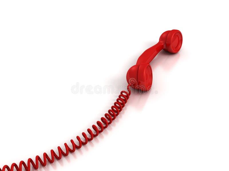 Roter Hörer Mit Gewundenem Draht Auf Weißem Hintergrund Stock ...