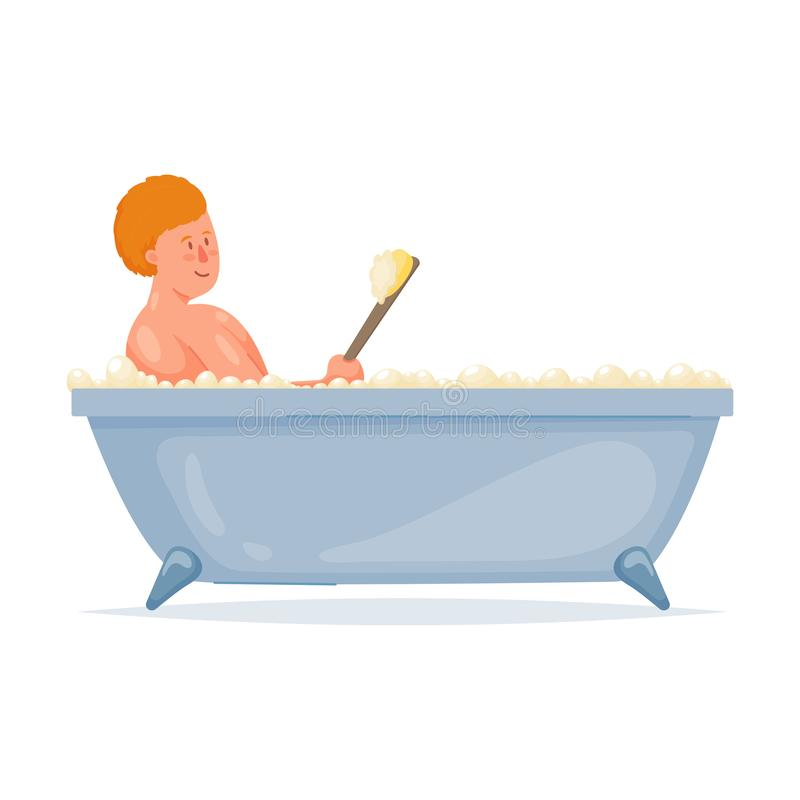 Roter Haarjunge ein Bad mit weicher Bürste des Griffs nehmen vektor abbildung