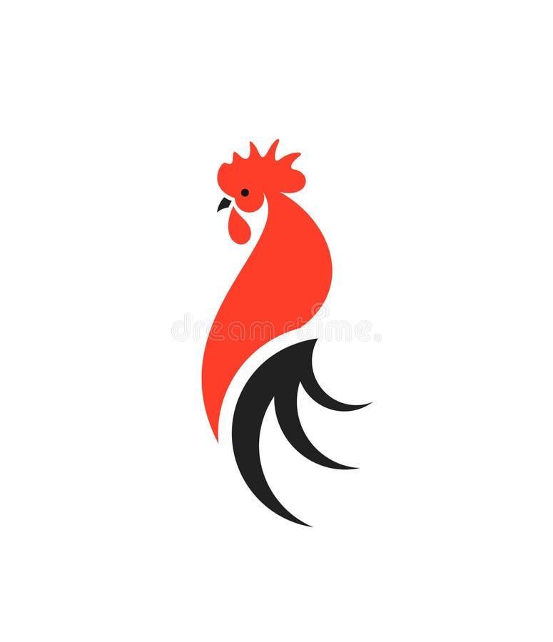 Roter Hahn mit schwarzem Endstück zeichen Lokalisierter Hahn auf weißem Hintergrund lizenzfreie abbildung