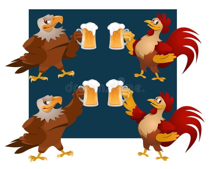 Roter Hahn und Weißkopfseeadler, die einen Toast gibt vektor abbildung