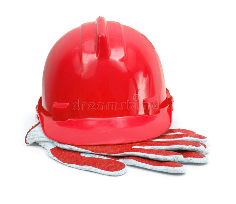 Roter Hardhat und Handschuhe stockfoto