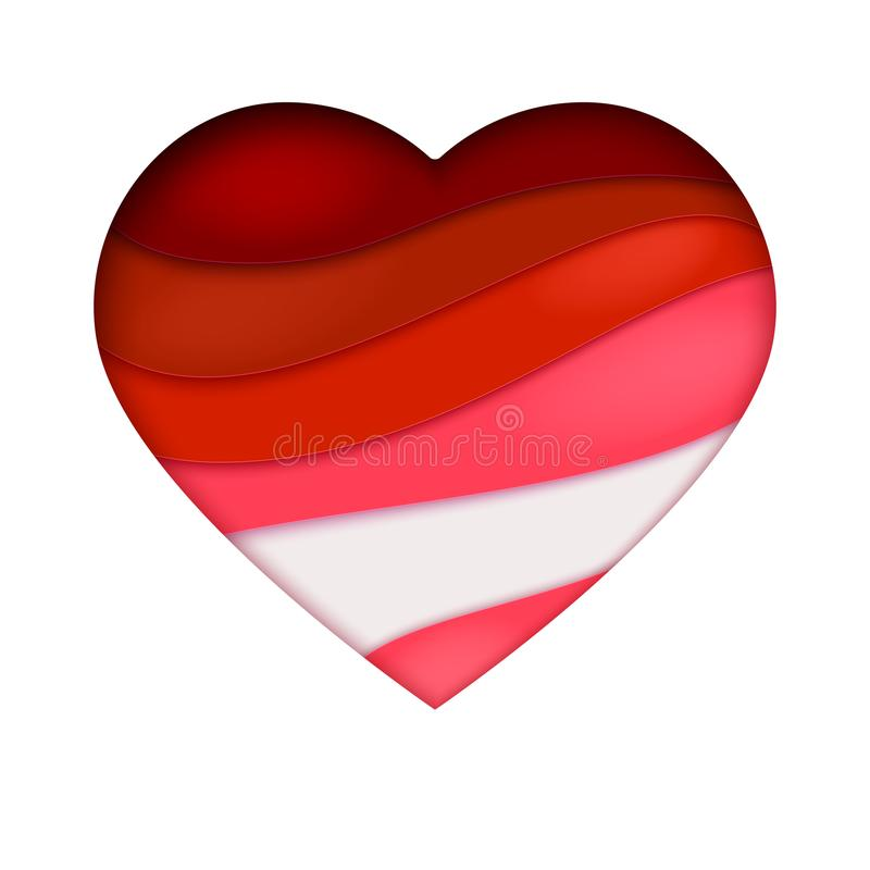 Roter Herzausschnitt vom Papier Abstrakte Kunst mit multi überlagerter Welle schnitt vom Papier heraus Abbildung des Vektor 3d vektor abbildung