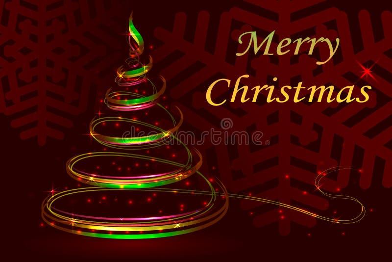 Roter Hintergrund der Abstraktion, Weihnachtsfestlicher Tannenbaum, neues Jahr vektor abbildung
