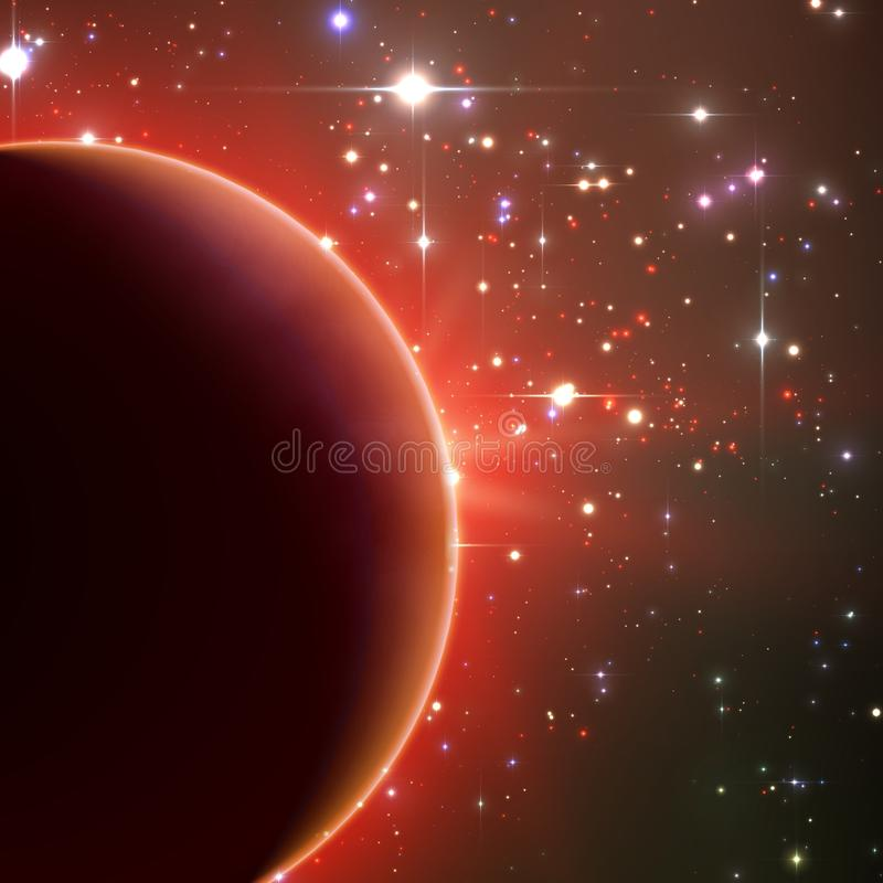 Roter Hintergrund des abstrakten Vektors mit Planeten und Eklipse seines Sternes Heller Sternlichtglanz vom Rand eines Planeten stock abbildung