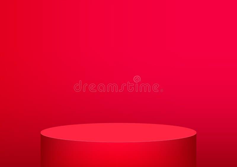 Roter Hintergrund des leeren Podiumstudios für Produktanzeige mit Kopienraum Ausstellungsraumtrieb ?bertragen Gr?ner Hintergrund vektor abbildung