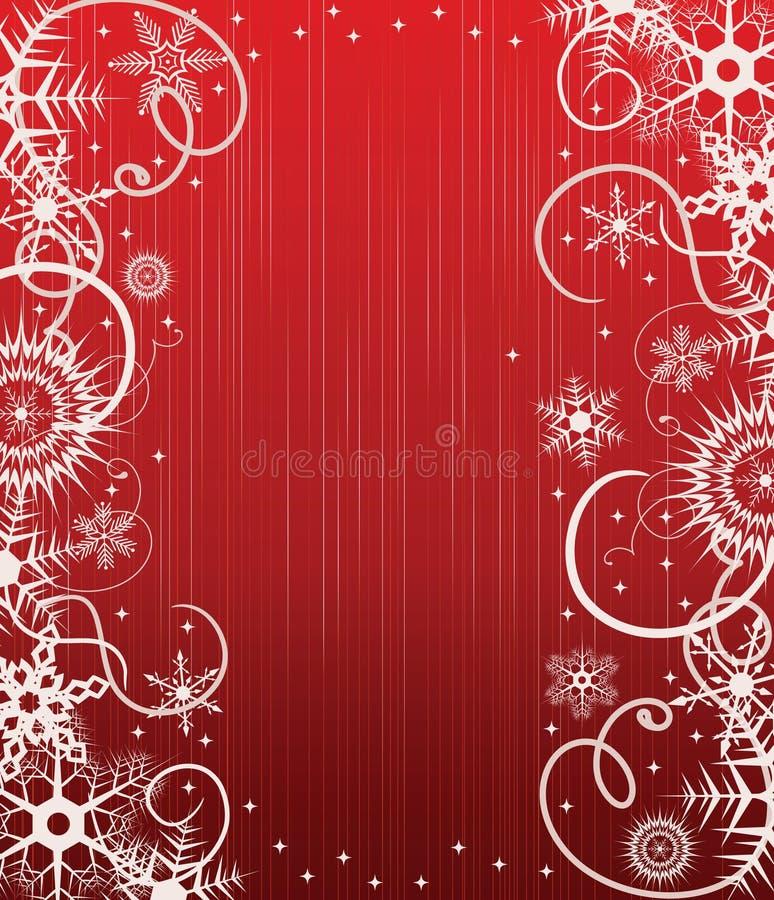 Roter Hintergrund des Winters mit Schneeflocken lizenzfreie abbildung