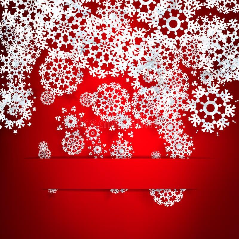 Roter Hintergrund mit Papierschneeflocken. vektor abbildung