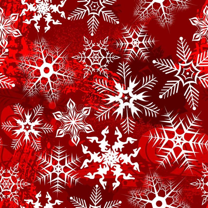 Roter Hintergrund mit Schneeflocken stock abbildung