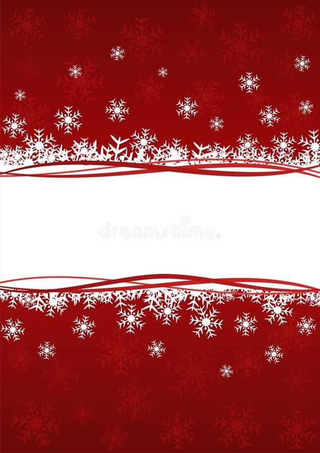 Roter Hintergrund mit Schneeflocken lizenzfreie abbildung
