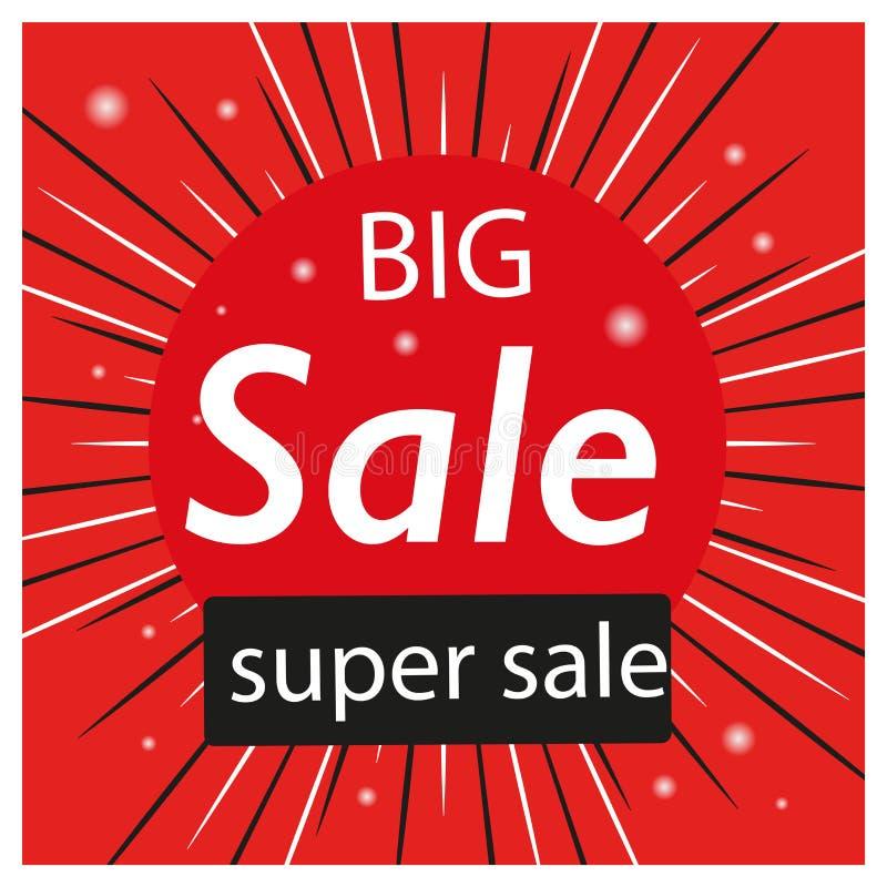 Roter Hintergrund Verkaufsfahnen-Schablonenentwurf Sonderangebot des gro?en Verkaufs Sonderangebotfahne für Plakat, Flieger, Bros lizenzfreie abbildung