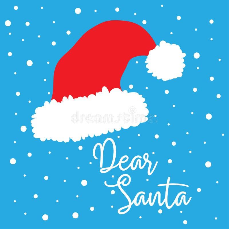 Roter Hut Santa Clauss mit Text liebe Sankt vektor abbildung
