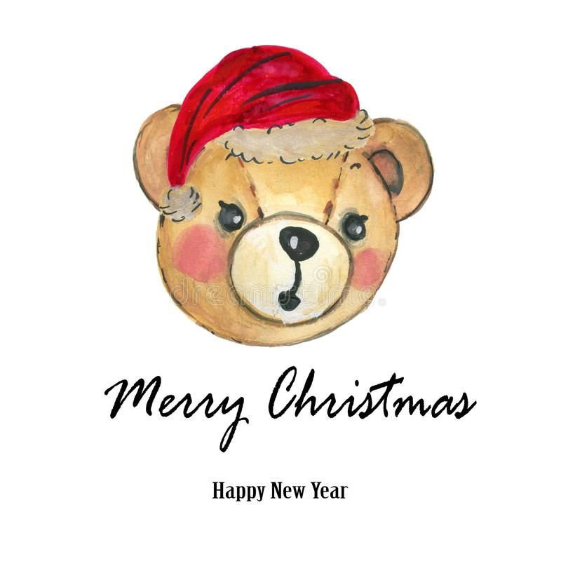 Roter Hut Teddy Bear Hand Aquarell-Santa Clauss malte stock abbildung