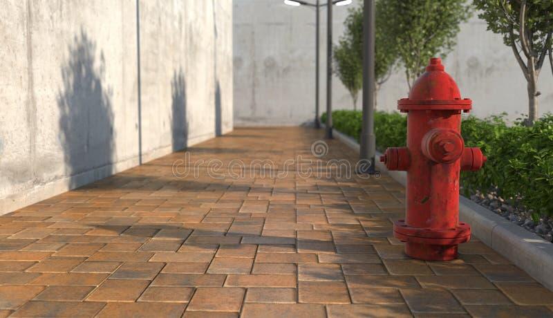 Roter Hydrant auf dem Fußweg in der städtischen Außennahaufnahme Fokus auf dem Vordergrund 3d ?bertragen stockbilder