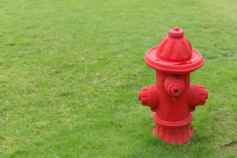 Roter Hydrant auf grüner Rasenfläche lizenzfreie stockbilder
