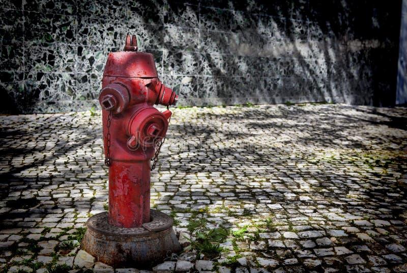 Roter Hydrant in Lissabon stockbild