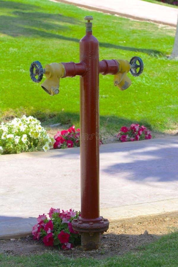 Roter Hydrant mit gelben Verbindungsstücken Hydrant oder Feuerlöschpumpe, stellt den Punkt der Verbindung dar, durch den Feuerweh lizenzfreie stockbilder