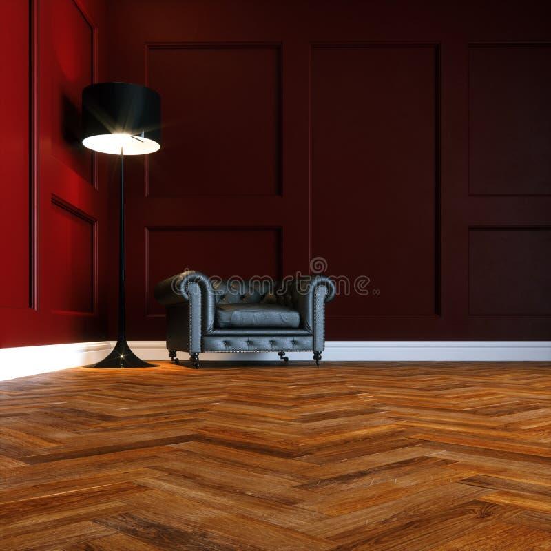 Roter Innenraum des Wohnzimmers mit ledernem Weinlese Lehnsessel und woode lizenzfreie abbildung