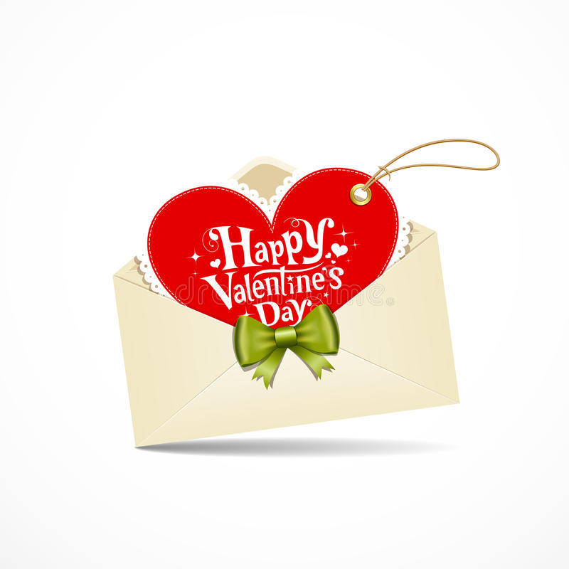 Roter Inner-Valentinstag des Umschlags vektor abbildung