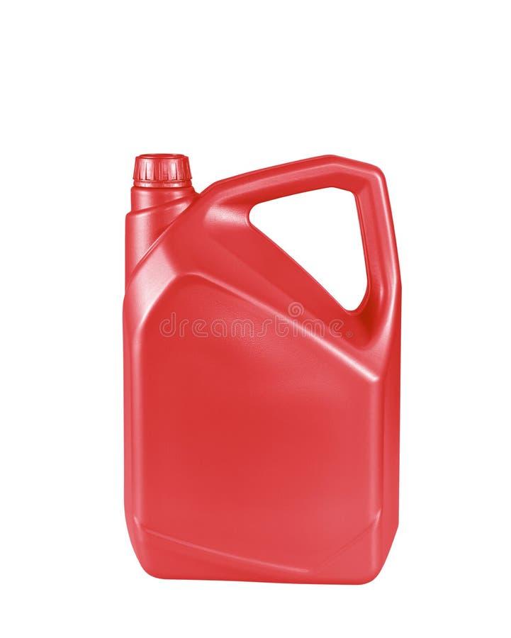 Roter Kanister mit dem Motoröl lokalisiert auf weißem Hintergrund stockfotos