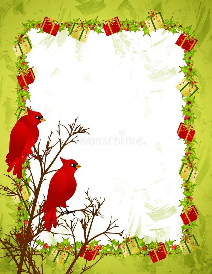 Roter Kardinal-Baum-Rand lizenzfreie abbildung