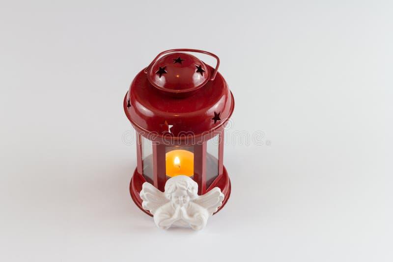 Roter Kerzenhalter stockfotos