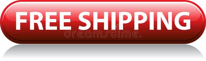 Roter Knopf des kostenlosen Versands lizenzfreie abbildung