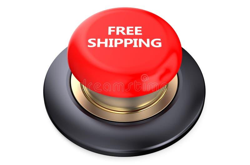 Roter Knopf des kostenlosen Versands stock abbildung
