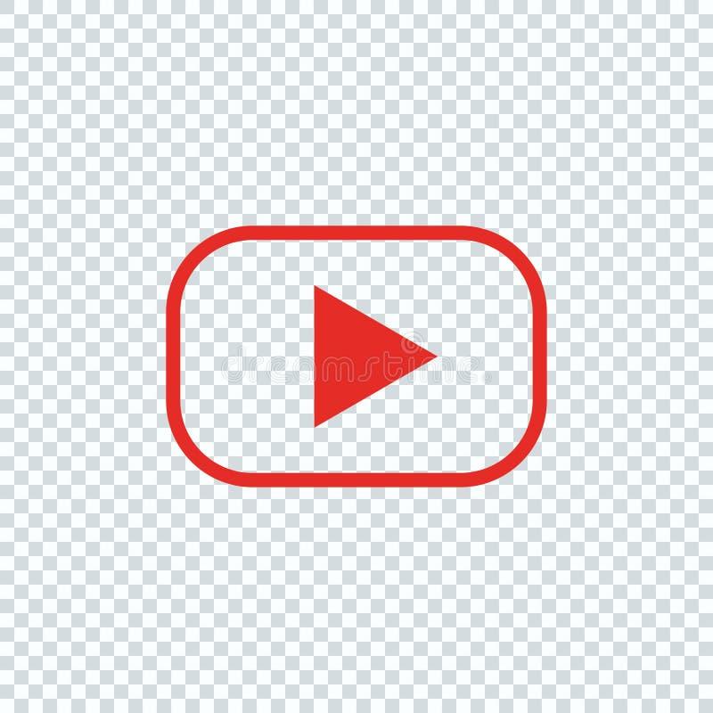 Roter Knopf für Video-Player Zeile Auslegung stock abbildung