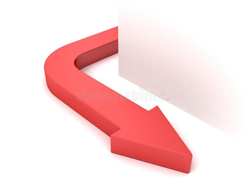 Roter Konzeptpfeil gekurvt von der weißen Ecke stock abbildung