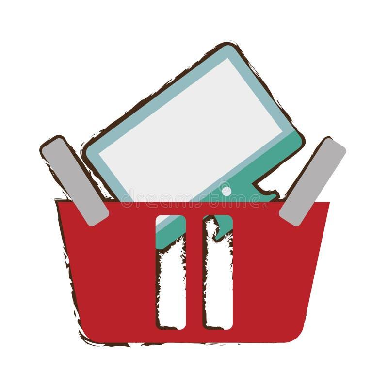 Roter Korb, der on-line-Bildschirm-Radioapparatskizze kauft stock abbildung