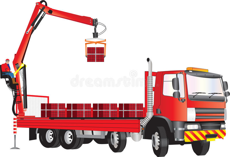 Roter Kran-LKW lizenzfreie abbildung