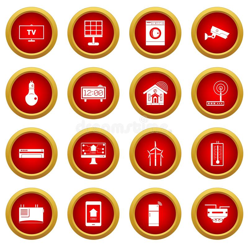Roter Kreissatz der intelligenten Haupthausikone stock abbildung