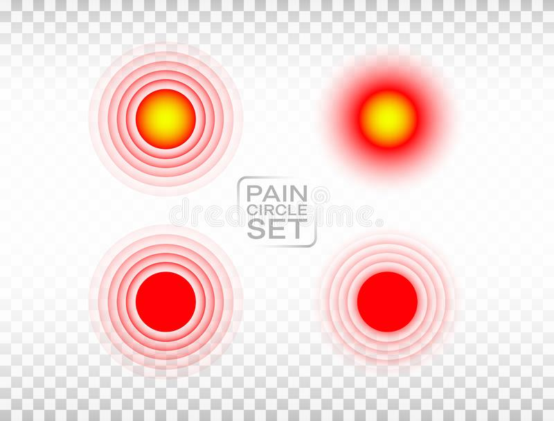 Roter Kreissatz der Schmerz Medizinische Ringsammlung Verletzte Markierung Schmerzende Platzsichtbarmachung auf transparentem Hin vektor abbildung