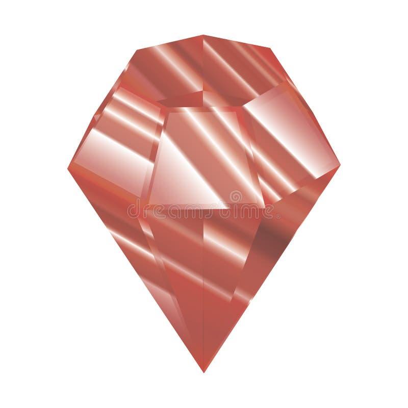 Roter Kristall Auch im corel abgehobenen Betrag Facettiertes Juwel Ein schöner Diamant lizenzfreie abbildung