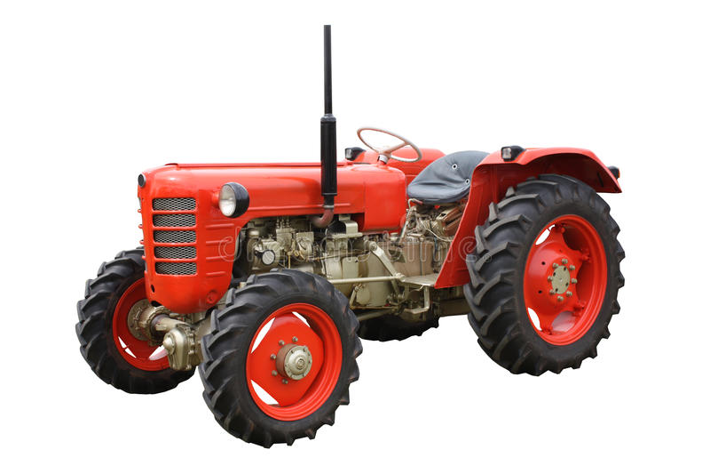 Roter Landwirtschaft-Traktor. lizenzfreie stockfotografie